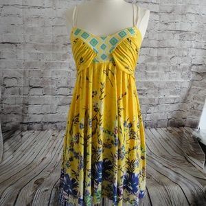 Free People Women's Sz S Yellow Embroidered Dress